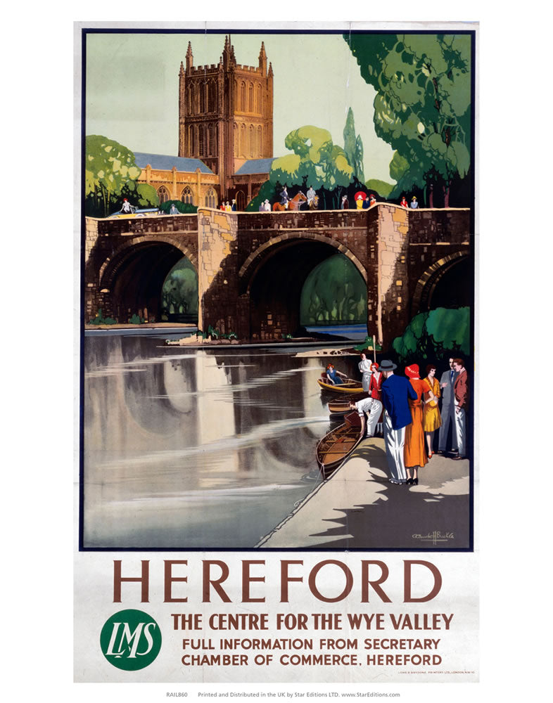 "Hereford - Centre for the Wye Valley LMS 24"" x 32"" Matte Mounted Print"