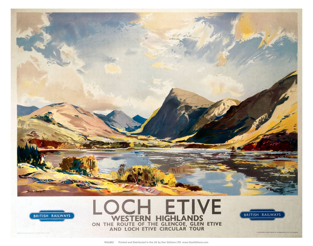 "Loch Etive western Highlands - On the route of the glencoe 24"" x 32"" Matte Mounted Print"