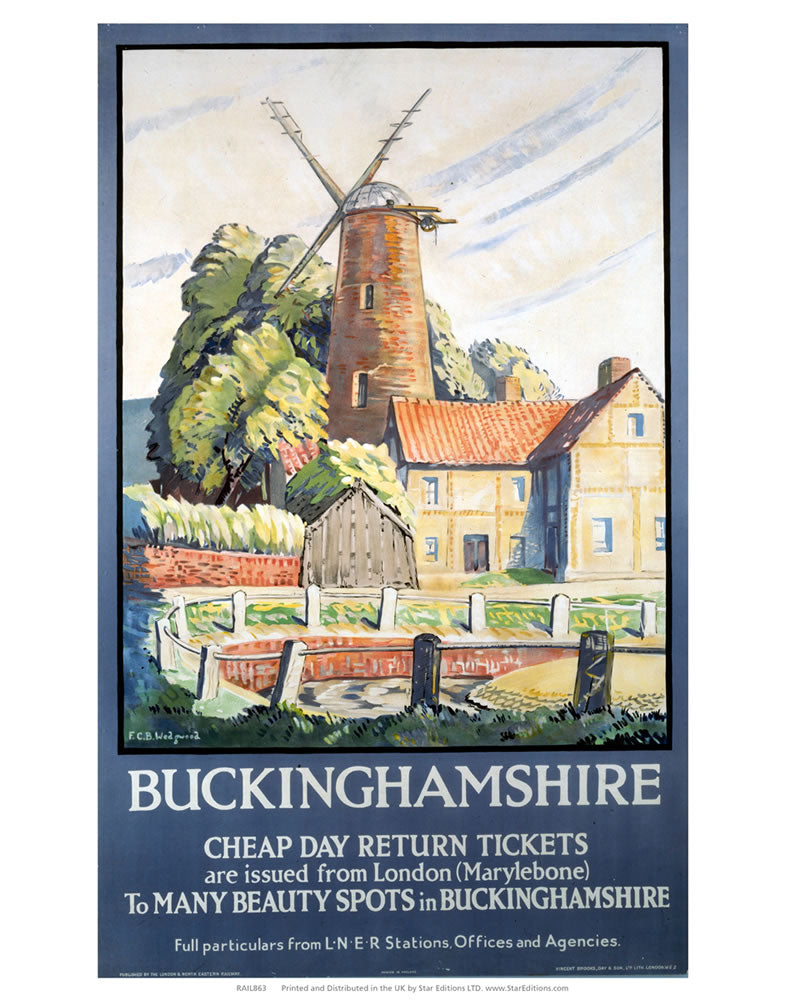 "Buckinghamshire - Beauty Spots Windmill 24"" x 32"" Matte Mounted Print"