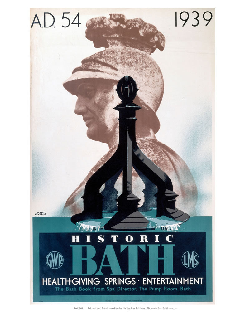 "Roman Bust - Historic Bath LMS and GWR Poster 24"" x 32"" Matte Mounted Print"