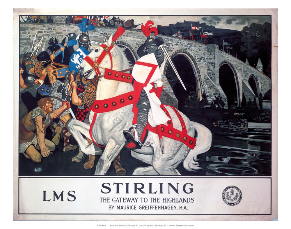 "LMS Stirling - Gateway to the Highlands Horseback Knight 24"" x 32"" Matte Mounted Print"