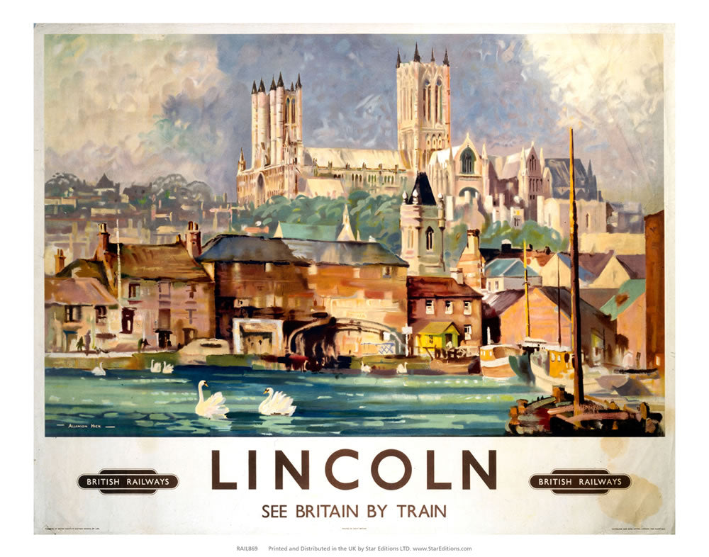 "Lincoln - British Railways See britain by train hill top cathedral 24"" x 32"" Matte Mounted Print"