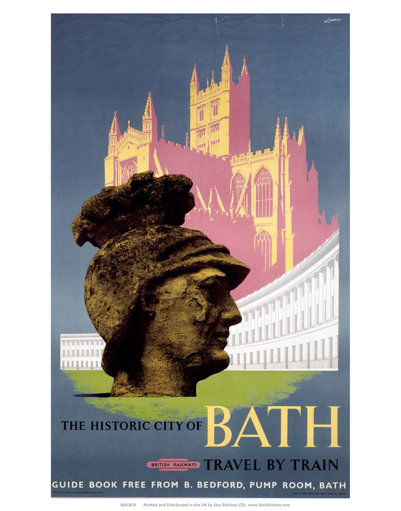 "Roman head - Historic City of bath Travel by train 24"" x 32"" Matte Mounted Print"