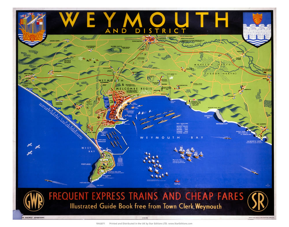 "Weymouth and district map -Frequent Trains and cheap fares 24"" x 32"" Matte Mounted Print"