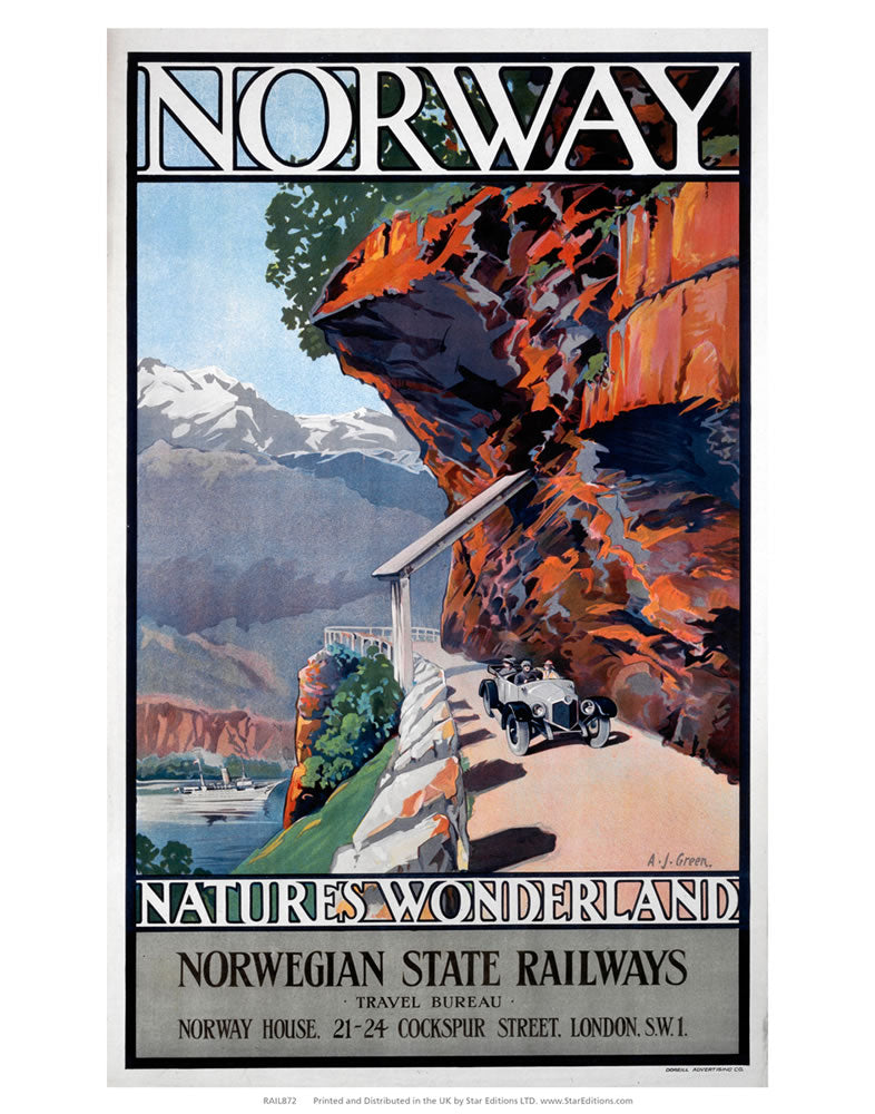"Norway - Natures Wonderland norwegian state railways 24"" x 32"" Matte Mounted Print"