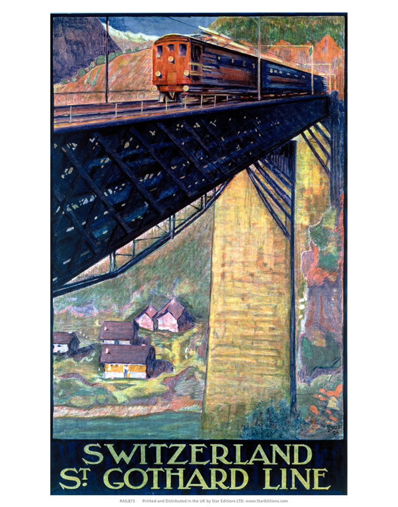 "Switzerland St Gothard Line - Train on bridge 24"" x 32"" Matte Mounted Print"