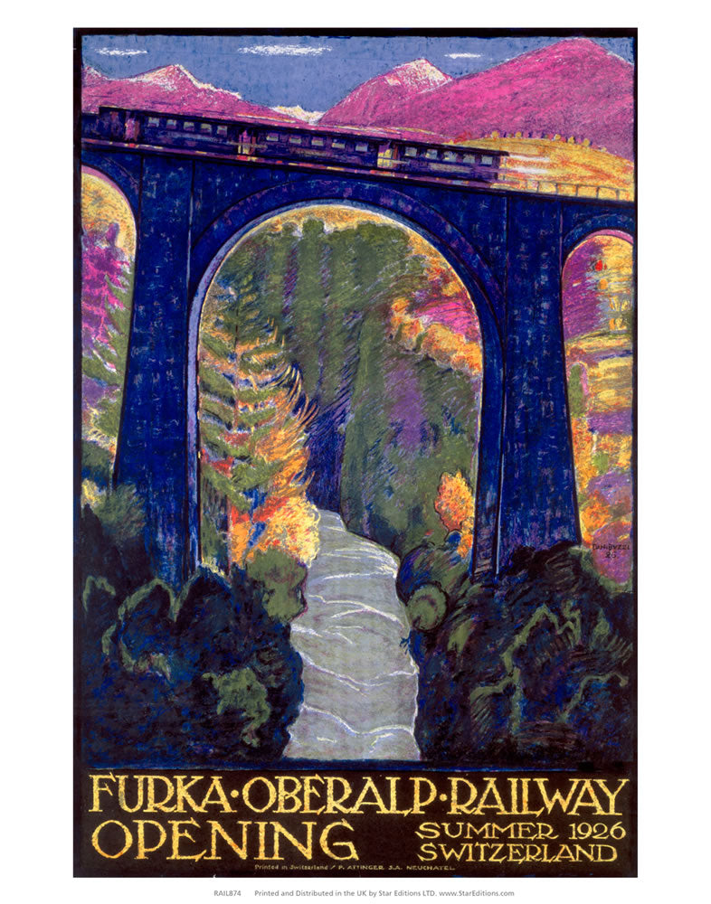 "Furka Oberalp Railway Opening - Train over Viaduct 24"" x 32"" Matte Mounted Print"