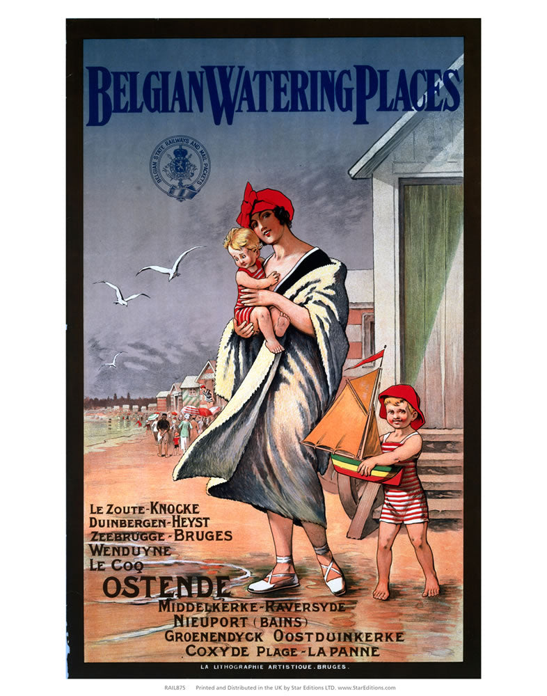 "Belgian Watering Places - seaside family Wrapped in towel 24"" x 32"" Matte Mounted Print"