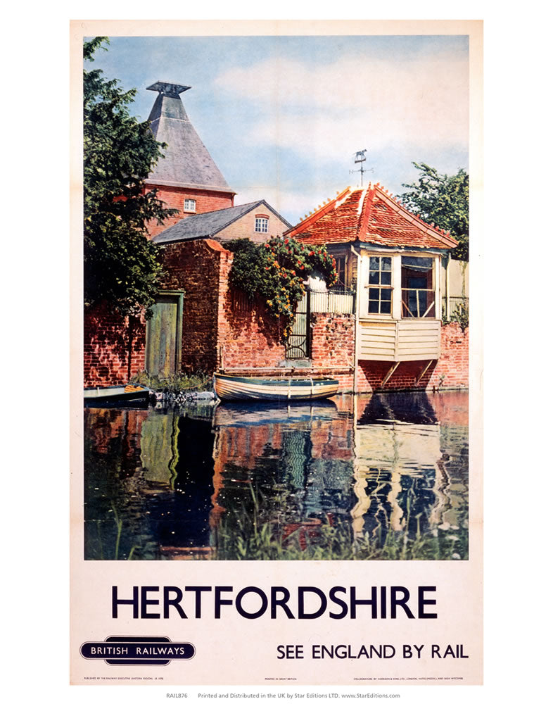"Hertfordshire - Waterside building England By Rail British Railways 24"" x 32"" Matte Mounted Print"