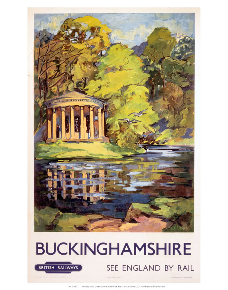 "Buckinghamshire - Waterway surrounding Pavillion 24"" x 32"" Matte Mounted Print"