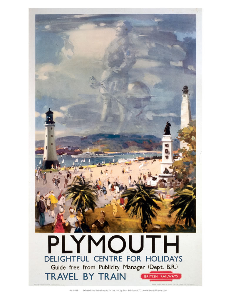 "Plymouth delightful centre for holidays - Travel by train 24"" x 32"" Matte Mounted Print"