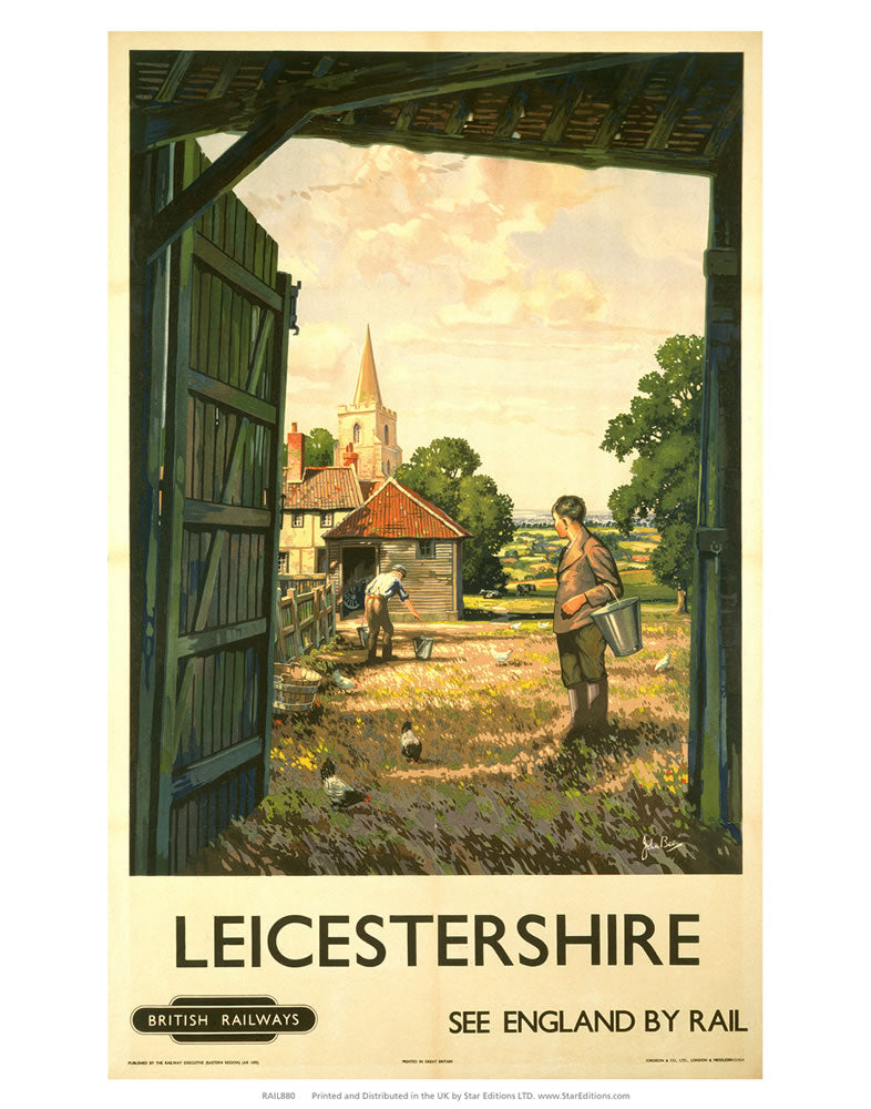 "Leicestershire Farm land - See England by rail 24"" x 32"" Matte Mounted Print"