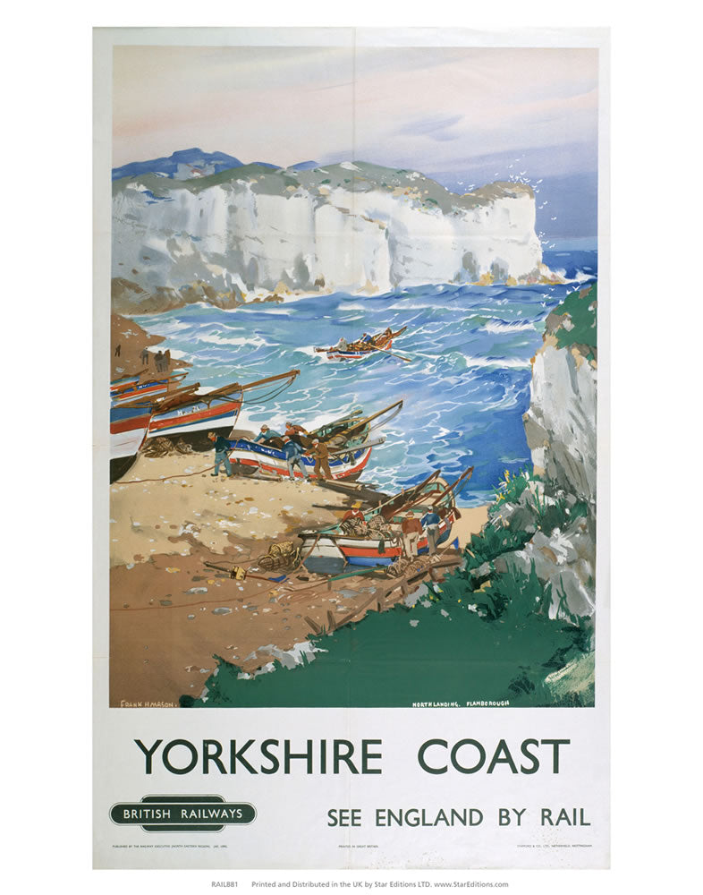 "Yorkshire Coast - Boats in the bay England by Rail 24"" x 32"" Matte Mounted Print"