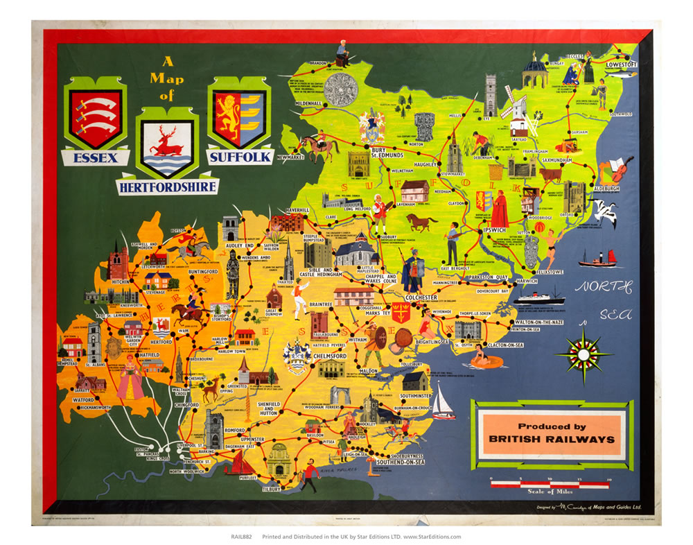 "Essex suffolk and hertfordshire map - British Railways 24"" x 32"" Matte Mounted Print"