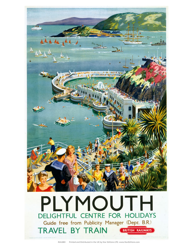 "Plymouth - Seaside Delightful Center for holidays 24"" x 32"" Matte Mounted Print"