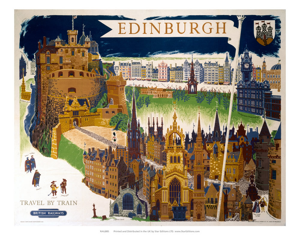 "Edinburgh castle - Travel by train British Railways 24"" x 32"" Matte Mounted Print"