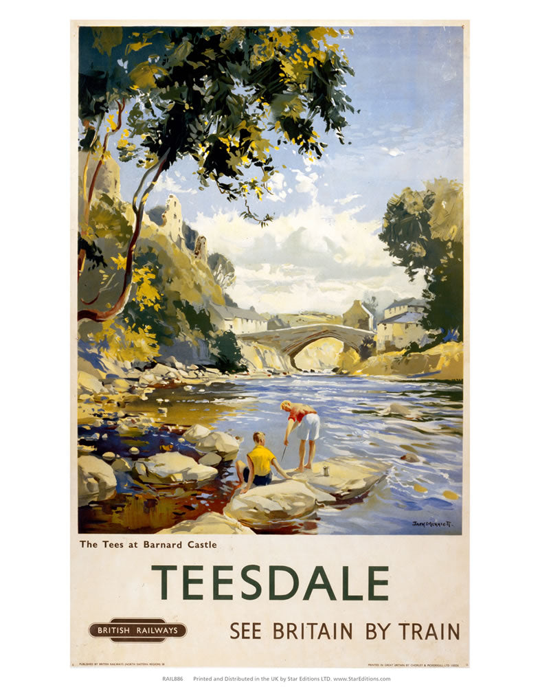 "Tees at Barnard Castle - Teesdale 24"" x 32"" Matte Mounted Print"