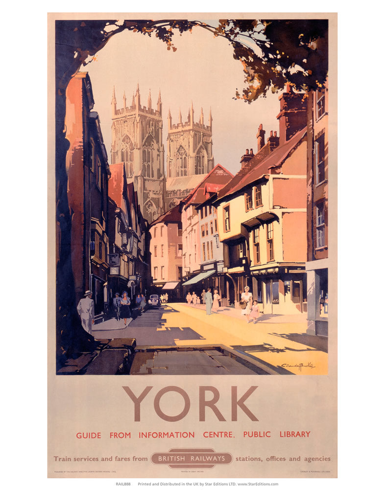 "York Street - Guide from information center 24"" x 32"" Matte Mounted Print"