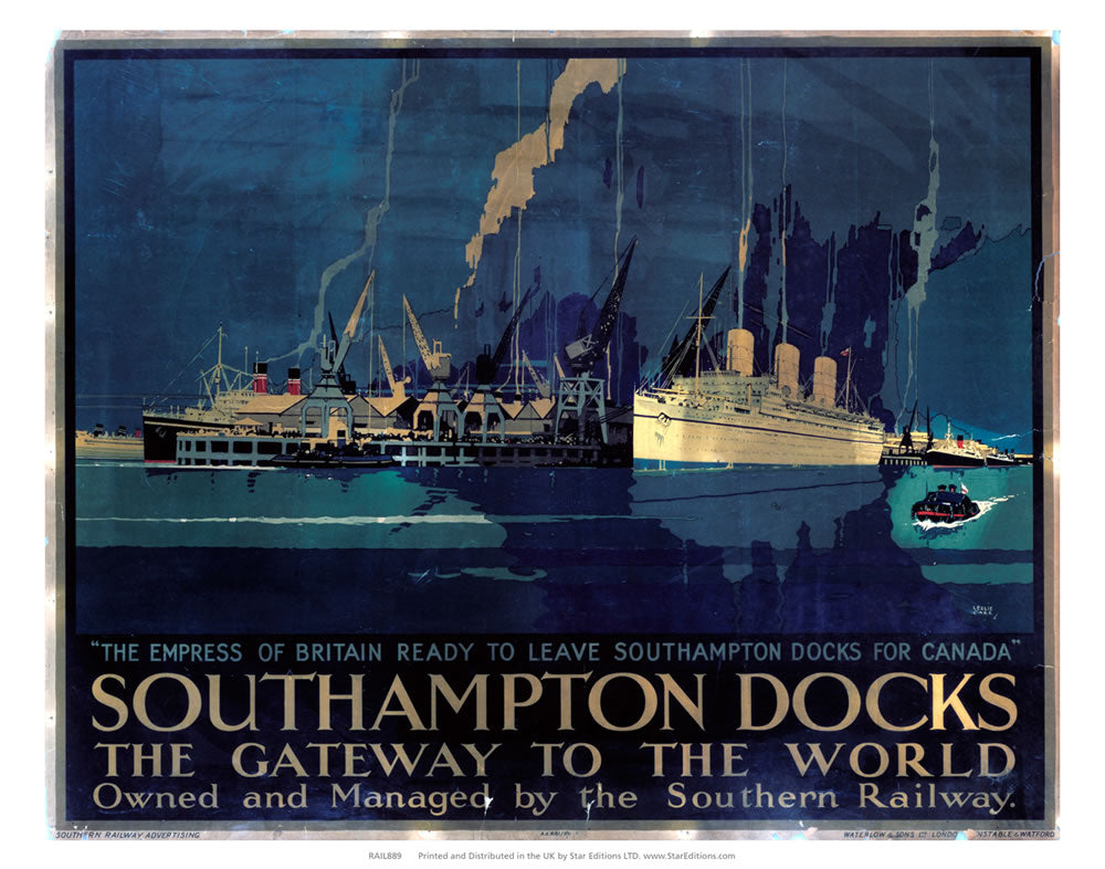 "Southampton docks - Gateway to the world Southern Rail 24"" x 32"" Matte Mounted Print"