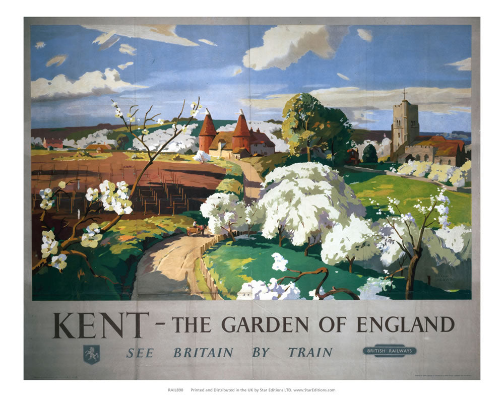 "Kent The Garden Of england - Travel by Train 24"" x 32"" Matte Mounted Print"