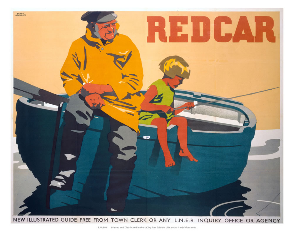 "REDCAR - Fisherman watches child fishing off row boat 24"" x 32"" Matte Mounted Print"