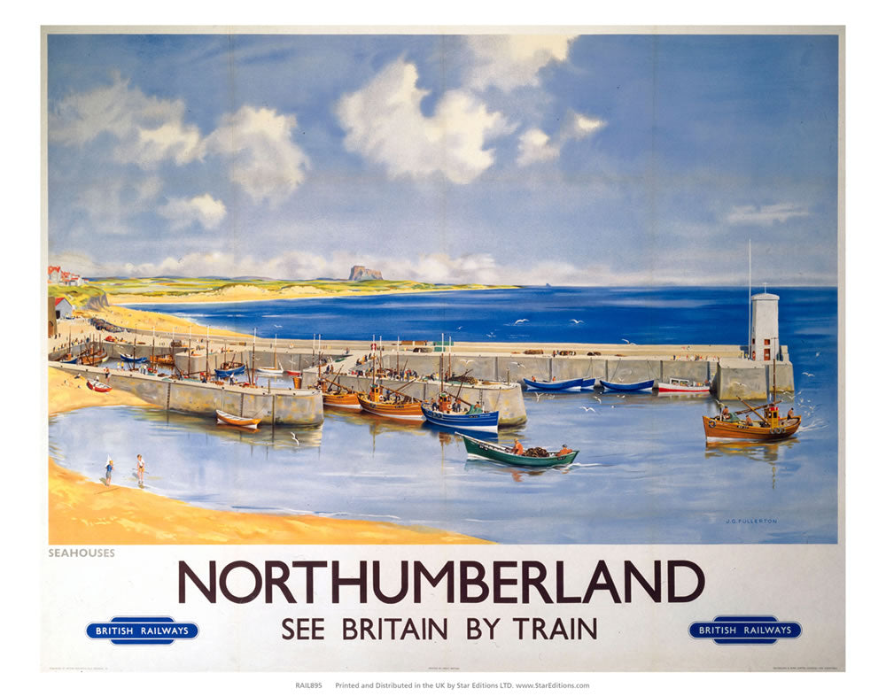 "Northumberland beachside Quay - Britain by Train 24"" x 32"" Matte Mounted Print"