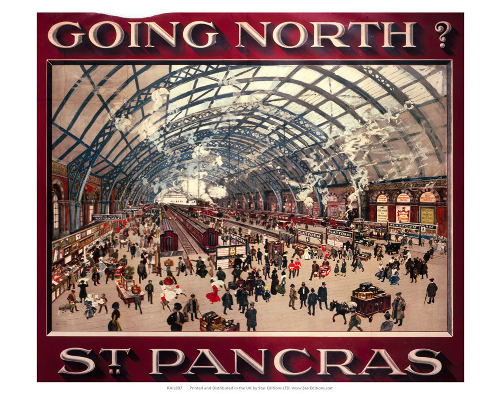 "St Pancras station - Going North? 24"" x 32"" Matte Mounted Print"