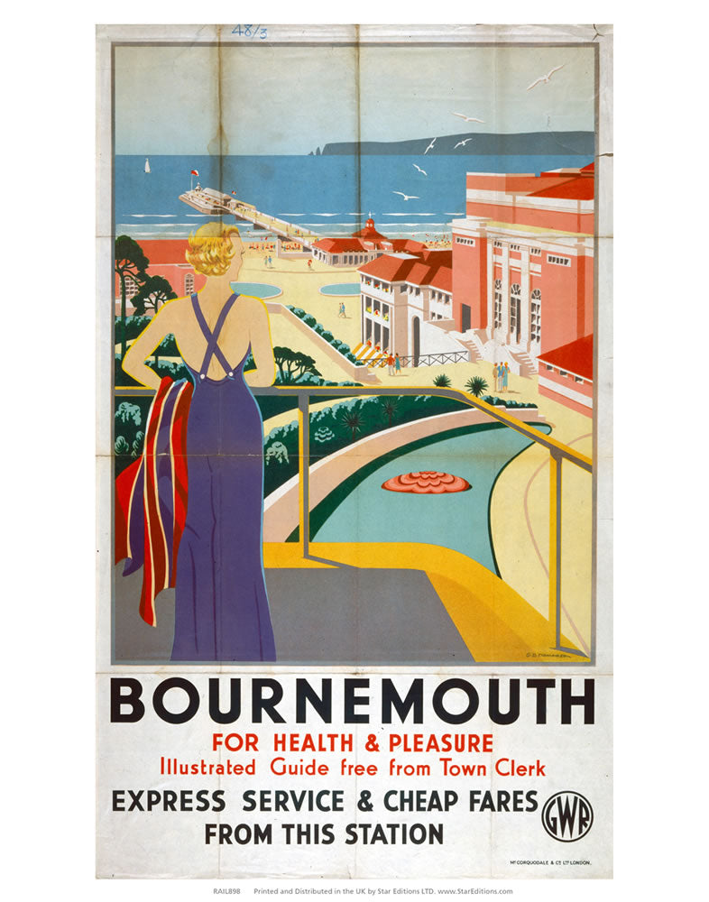 "Bournemouth for health and pleasure - Express service GWR 24"" x 32"" Matte Mounted Print"