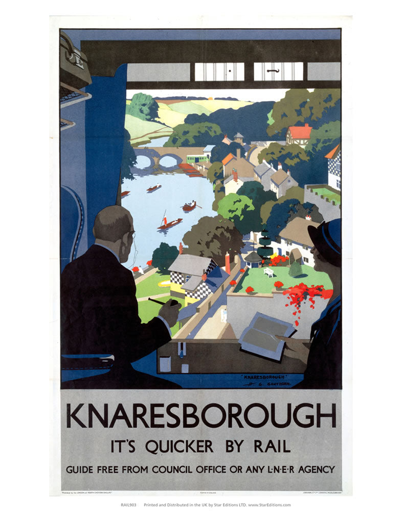 "Knaresborough - Quicker By Rail LNER 24"" x 32"" Matte Mounted Print"