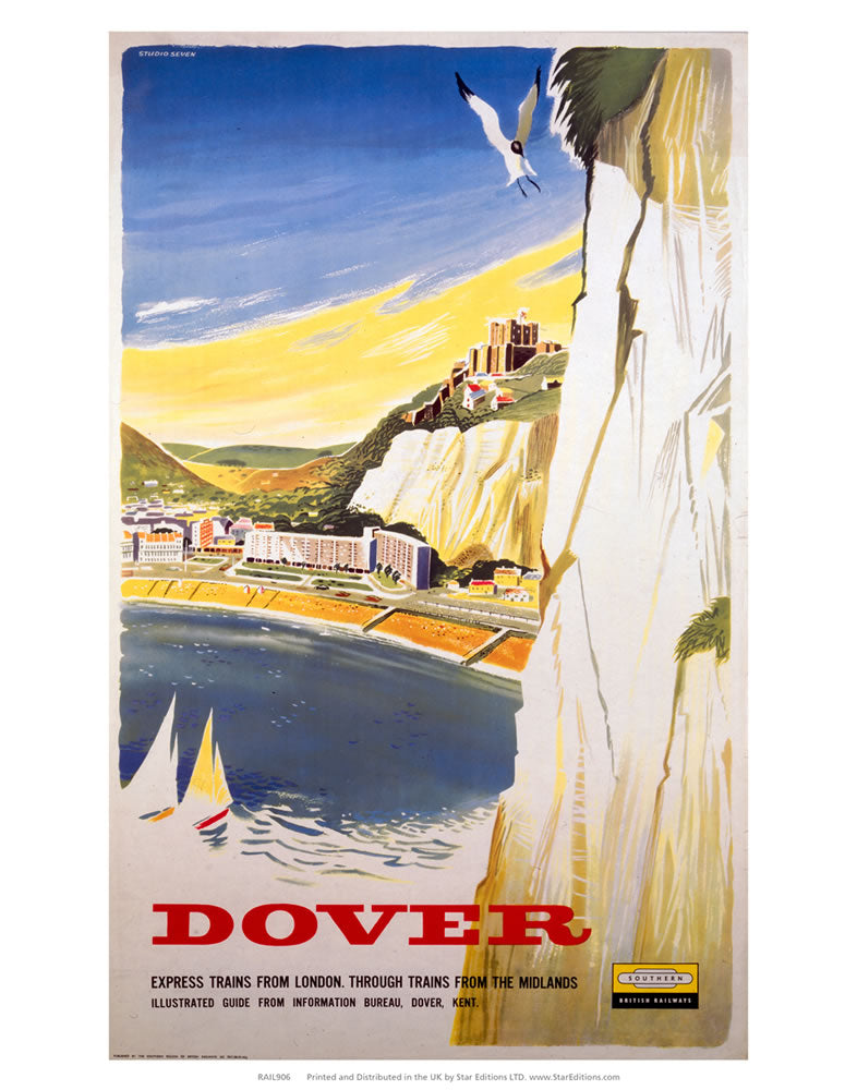 "Dover - White Cliffs view Southern Railway 24"" x 32"" Matte Mounted Print"