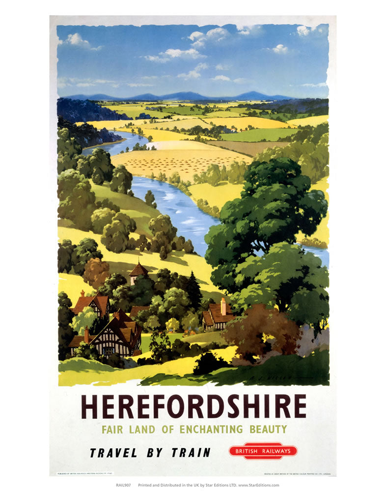 "Herefordshire - Land of Enchanting Beauty 24"" x 32"" Matte Mounted Print"