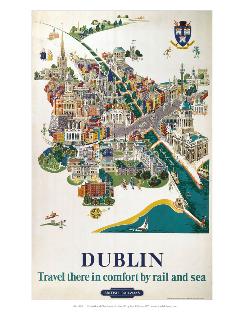 "Dublin Comfort by rail and sea 24"" x 32"" Matte Mounted Print"