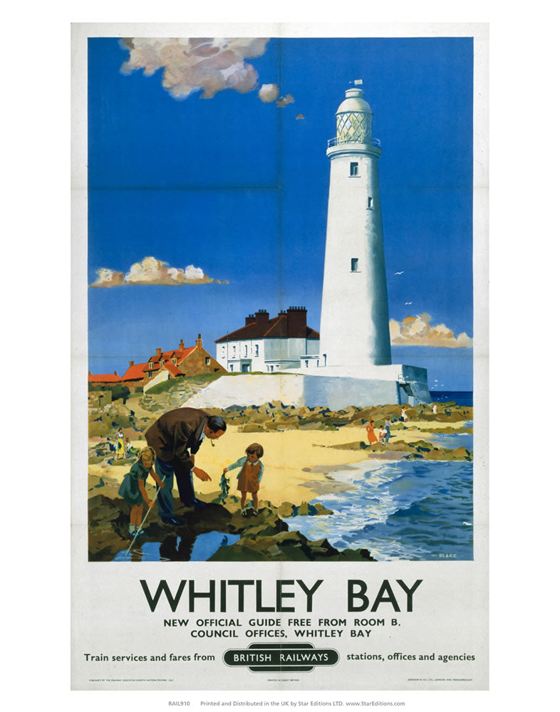 "Whitley Bay - Family near White Lighthouse 24"" x 32"" Matte Mounted Print"