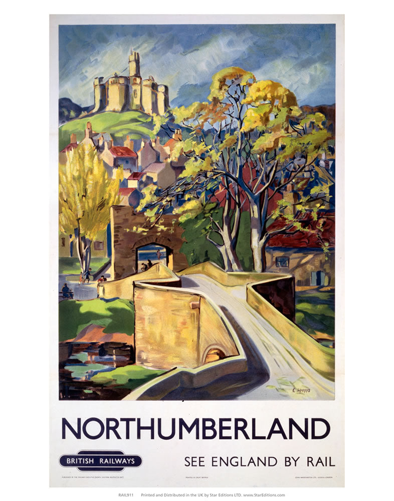 "Northumberland bridge - British railways 24"" x 32"" Matte Mounted Print"