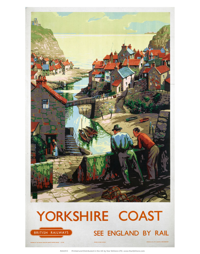 "Yorkshire Coast - 2 Men on the bridge 24"" x 32"" Matte Mounted Print"