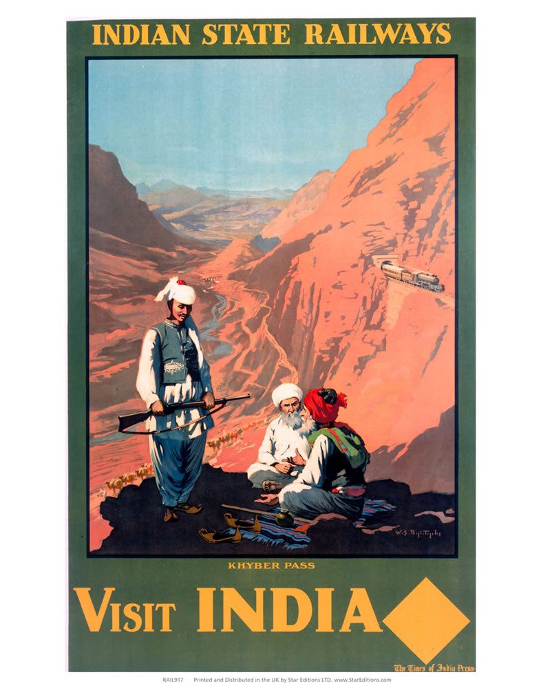 "Khyber Pass - Visit India Indian State Railways 24"" x 32"" Matte Mounted Print"