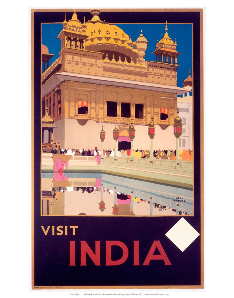 "Visit India Purple - White Square 24"" x 32"" Matte Mounted Print"