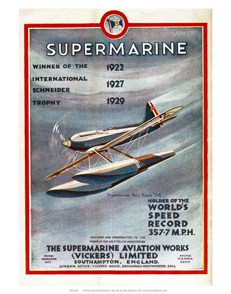 "Supermarine - Winner of the International Schneider Trophy 24"" x 32"" Matte Mounted Print"