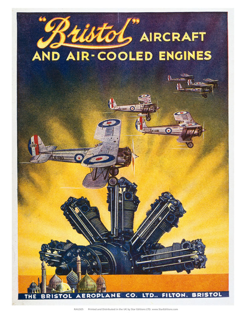 "Bristol aircraft and air cooled engines 24"" x 32"" Matte Mounted Print"