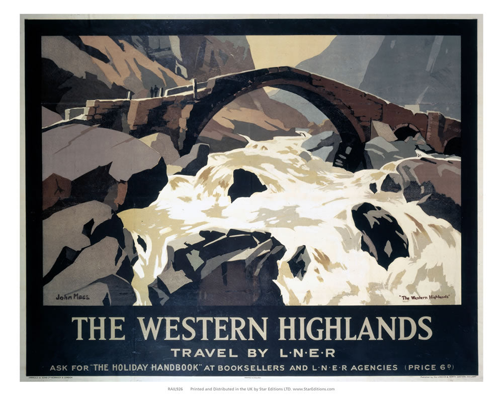 "The Western Highlands - Bridge over rapid water 24"" x 32"" Matte Mounted Print"
