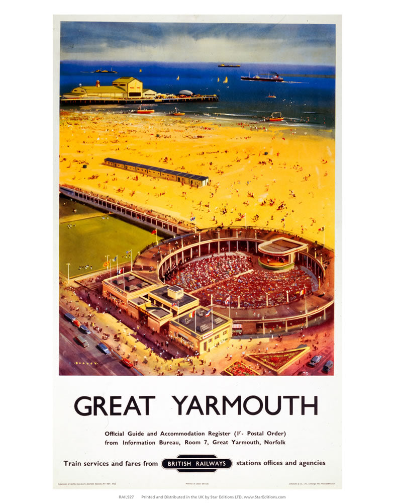 "Great Yarmouth - British Railways 24"" x 32"" Matte Mounted Print"