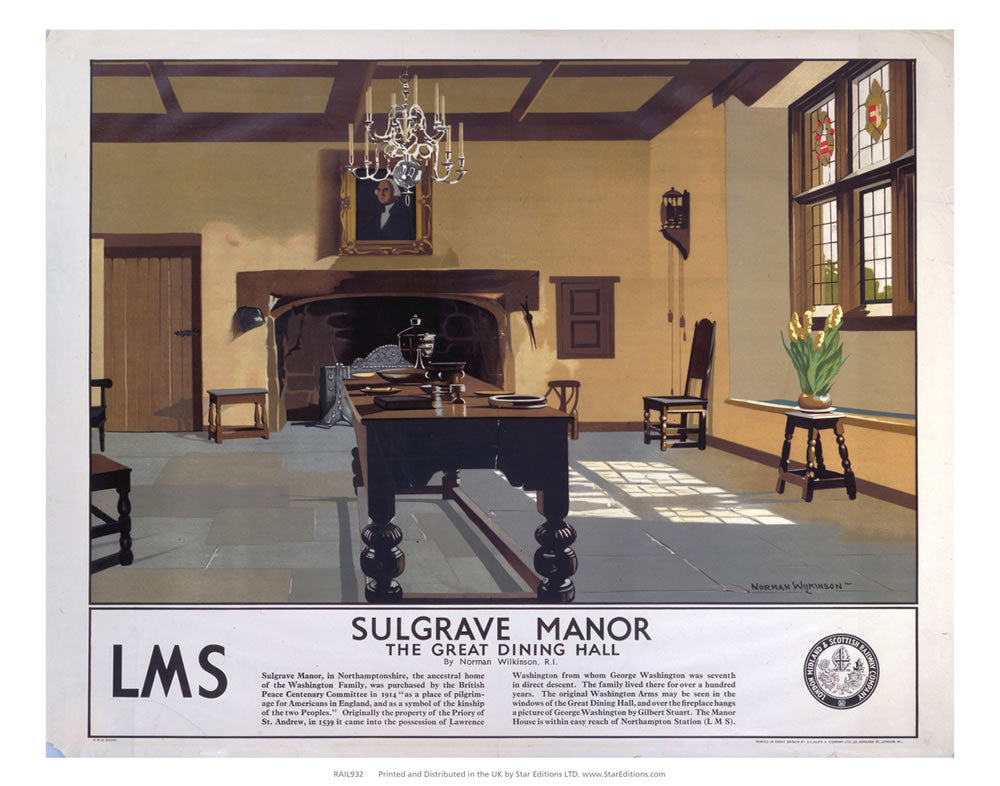 "Sulgrave Manor the great dining hall - LMS 24"" x 32"" Matte Mounted Print"