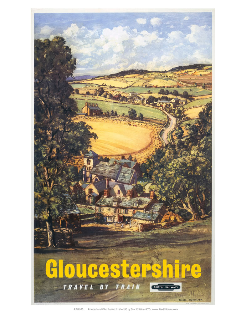 "Gloucestershire hillside view 24"" x 32"" Matte Mounted Print"