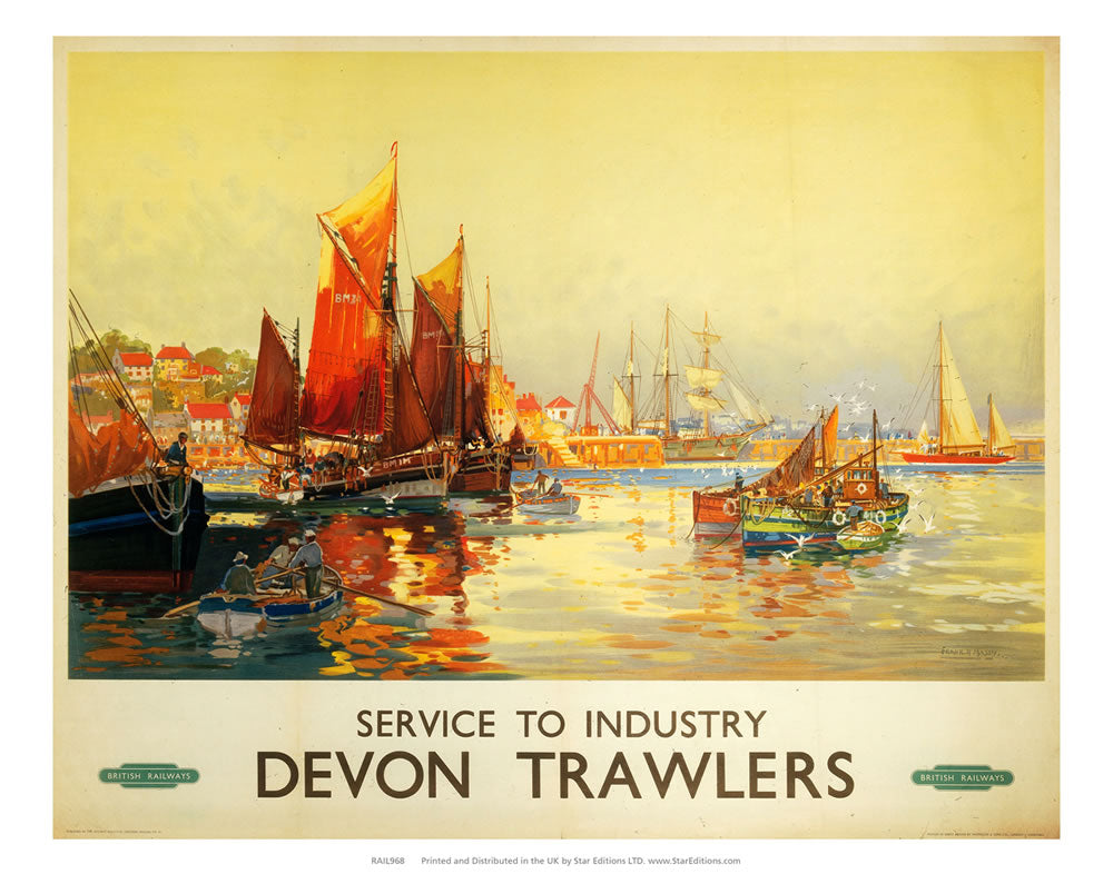"Devon Trawlers - Service to Industry 24"" x 32"" Matte Mounted Print"