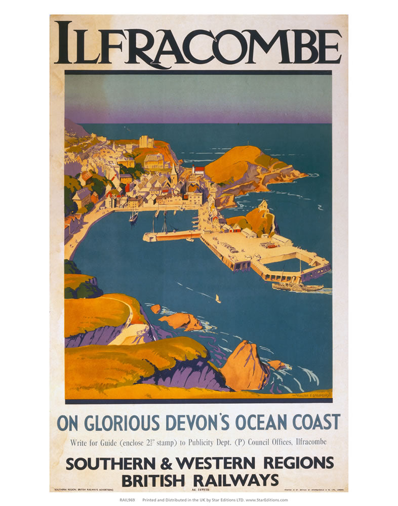 "Ilfracombe - Glorious Devon ocean coast 24"" x 32"" Matte Mounted Print"