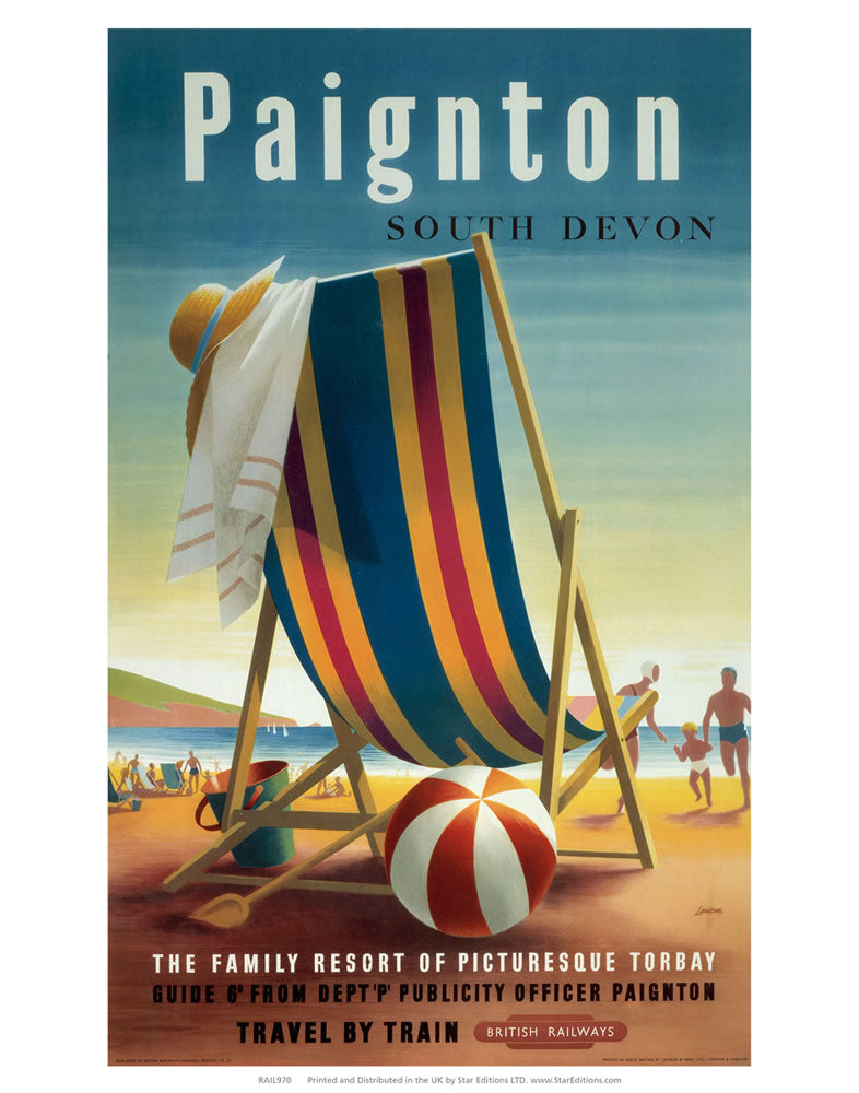 "Paignton south Devon - Stripe beach deck chair 24"" x 32"" Matte Mounted Print"