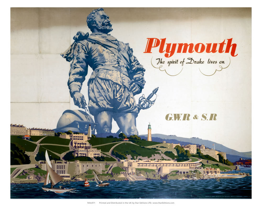 "Plymouth Spirit of Drake Lives on - GWR and Southern Rail 24"" x 32"" Matte Mounted Print"