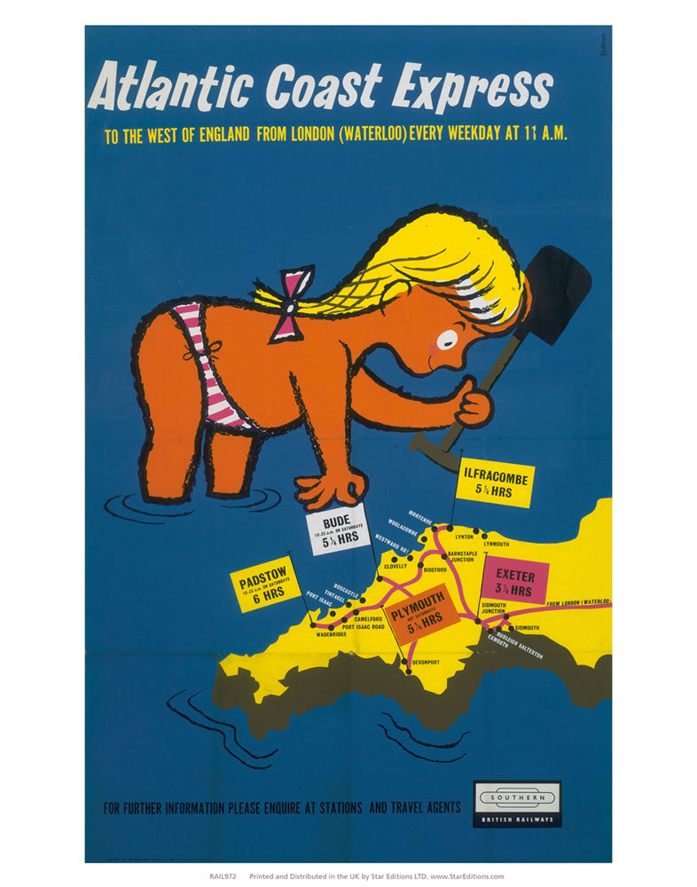 "Atlantic Coast Express - To the west of england 24"" x 32"" Matte Mounted Print"