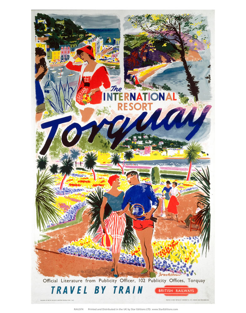 "International Resort of Torquay 24"" x 32"" Matte Mounted Print"