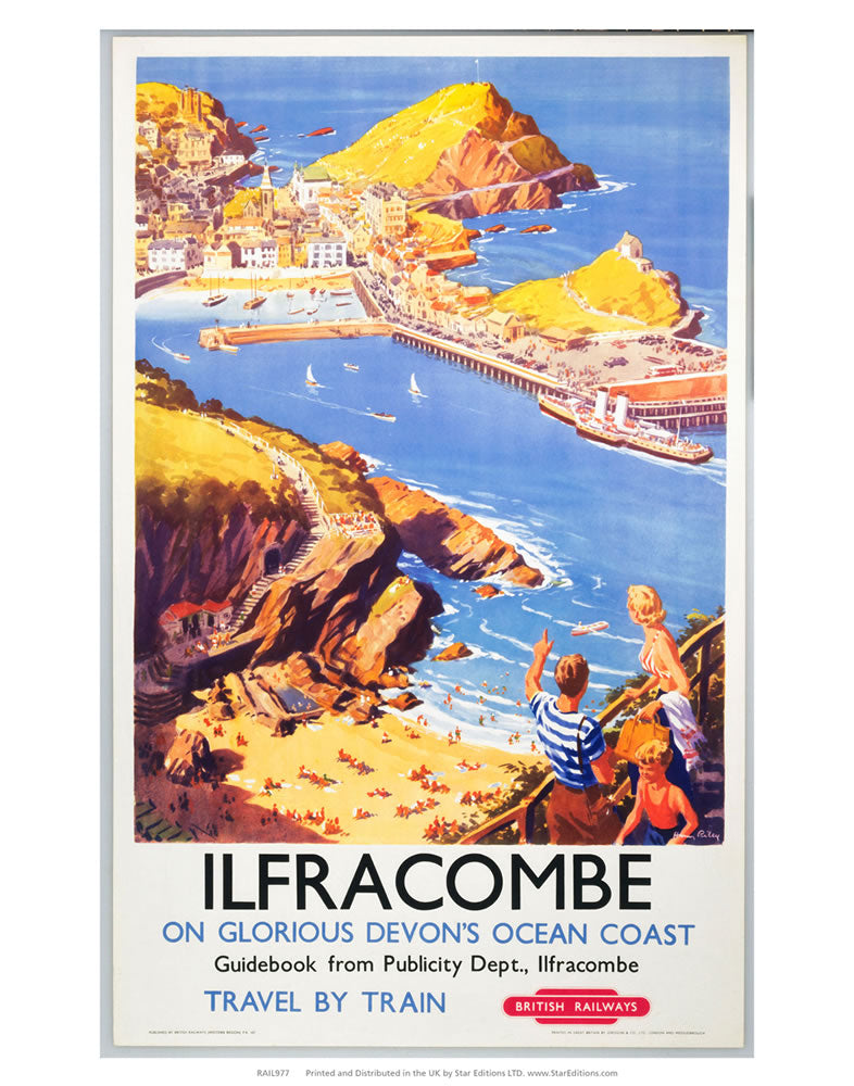 "Ilfracombe - Clifftop View of the beach 24"" x 32"" Matte Mounted Print"
